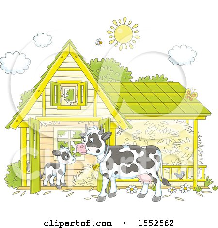 Clipart of a Calf and Dairy Cow at a Barn - Royalty Free Vector Illustration by Alex Bannykh