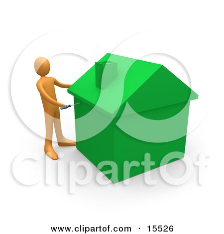 Orange Person Using A Screwdriver To Finish Off A Green Energy Efficient Home After Doing Eco Friendly Upgrades, Repairs, Or New Construction Clipart Illustration Image by 3poD