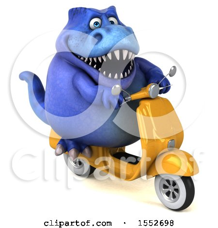 Clipart of a 3d Blue T Rex Dinosaur Riding a Scooter, on a White Background - Royalty Free Illustration by Julos