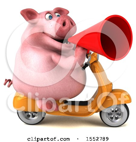 Clipart of a 3d Chubby Pig Riding a Scooter, on a White Background - Royalty Free Illustration by Julos