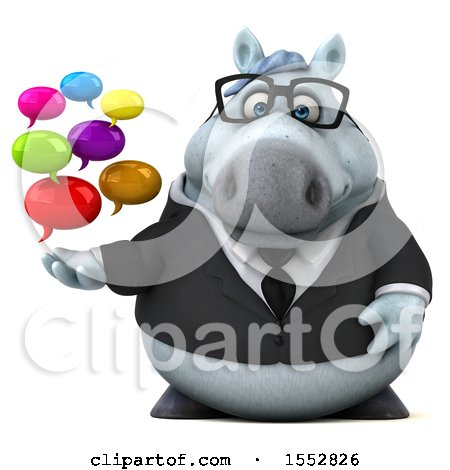 Clipart of a 3d Chubby White Business Horse Holding Messages, on a White Background - Royalty Free Illustration by Julos