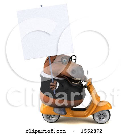 Clipart of a 3d Chubby Brown Business Horse Riding a Scooter, on a White Background - Royalty Free Illustration by Julos