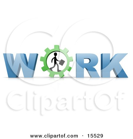 Silhouetted Person Carrying A Briefcase And Walking In A Gear That Forms The Letter O In The Word Work Clipart Illustration Image by 3poD