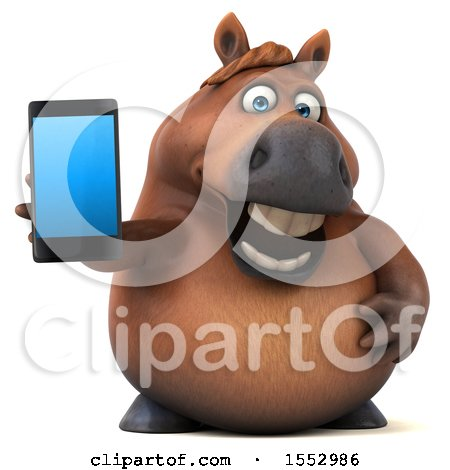 Clipart of a 3d Chubby Brown Horse Holding a Smart Phone, on a White Background - Royalty Free Illustration by Julos