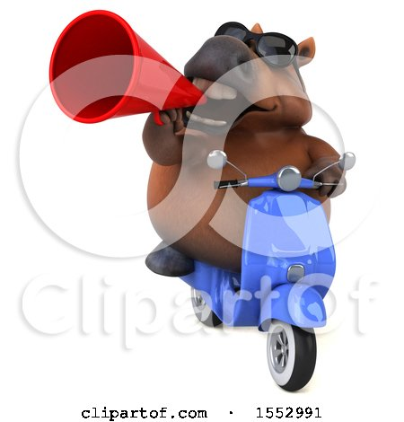 Clipart of a 3d Chubby Brown Horse Riding a Scooter, on a White Background - Royalty Free Illustration by Julos
