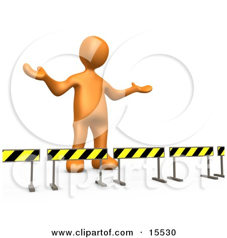 Orange Person Stuck Behind Caution Signs, Not Sure Where To Go Clipart Illustration Image by 3poD