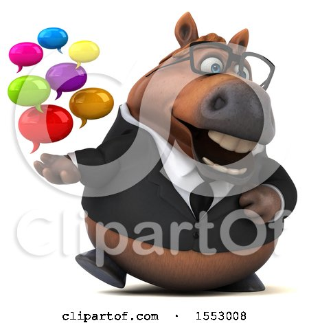 Clipart of a 3d Chubby Brown Business Horse Holding Messages, on a White Background - Royalty Free Illustration by Julos