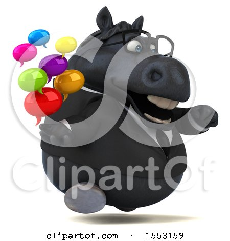 Clipart of a 3d Chubby Black Business Horse Holding Messages, on a White Background - Royalty Free Illustration by Julos