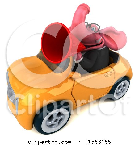 Clipart of a 3d Pink Business Elephant Driving a Convertible, on a White Background - Royalty Free Illustration by Julos