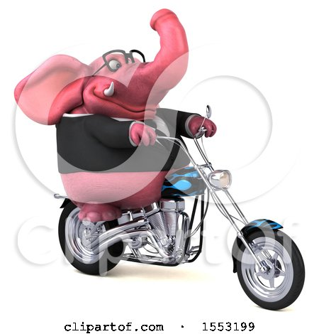 Clipart of a 3d Pink Business Elephant Biker Riding a Chopper Motorcycle, on a White Background - Royalty Free Illustration by Julos