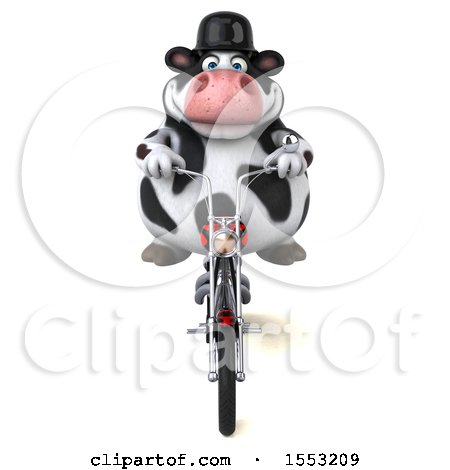 Clipart of a 3d Holstein Cow Biker Riding a Chopper Motorcycle, on a White Background - Royalty Free Illustration by Julos