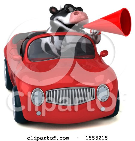 Clipart of a 3d Holstein Cow Driving a Convertible, on a White Background - Royalty Free Illustration by Julos