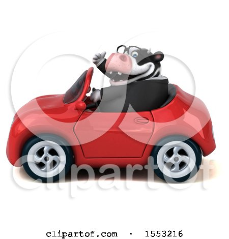 Clipart of a 3d Business Holstein Cow Driving a Convertible, on a White Background - Royalty Free Illustration by Julos