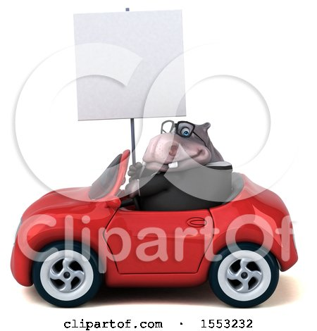 Clipart of a 3d Business Hippo Driving a Convertible, on a White Background - Royalty Free Illustration by Julos