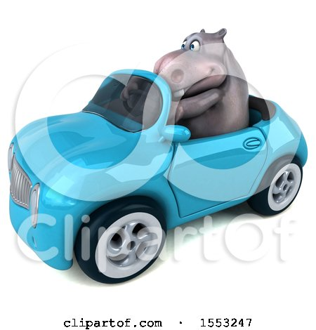 Clipart of a 3d Hippo Driving a Convertible, on a White Background - Royalty Free Illustration by Julos