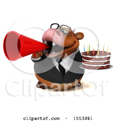 Clipart of a 3d Brown Business Cow Holding a Birthday Cake, on a White Background - Royalty Free Illustration by Julos
