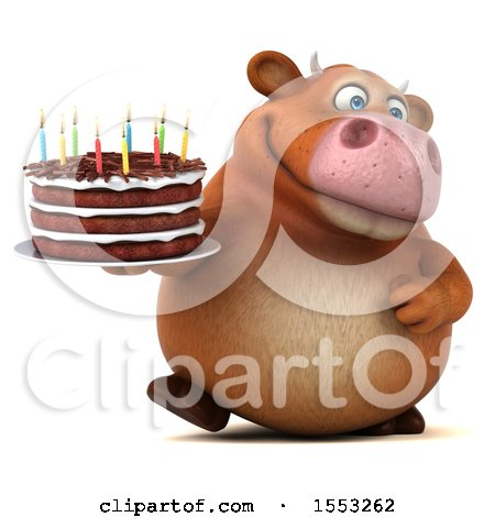 Clipart of a 3d Brown Cow Holding a Birthday Cake, on a White Background - Royalty Free Illustration by Julos