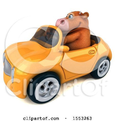 Clipart of a 3d Brown Cow Driving a Convertible, on a White Background - Royalty Free Illustration by Julos