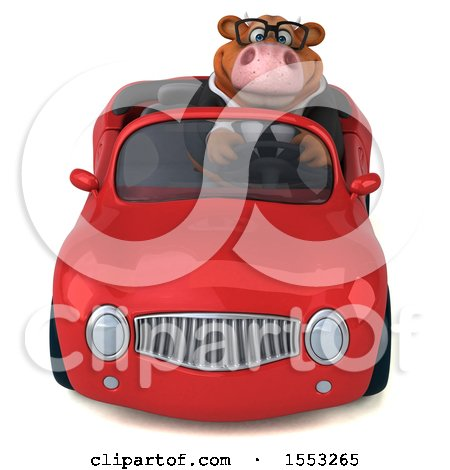 Clipart of a 3d Brown Business Cow Driving a Convertible, on a White Background - Royalty Free Illustration by Julos