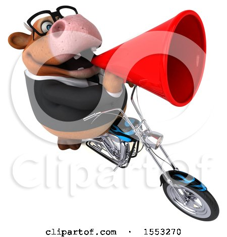 Clipart of a 3d Brown Business Cow Biker Riding a Chopper Motorcycle, on a White Background - Royalty Free Illustration by Julos