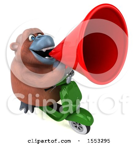 Clipart of a 3d Orangutan Monkey Riding a Scooter, on a White Background - Royalty Free Illustration by Julos