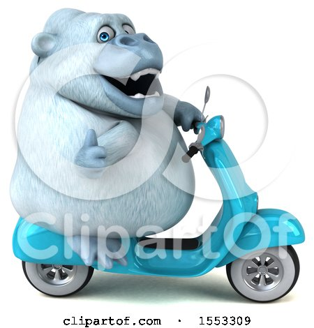 Clipart of a 3d White Monkey Yeti Riding a Scooter, on a White Background - Royalty Free Illustration by Julos