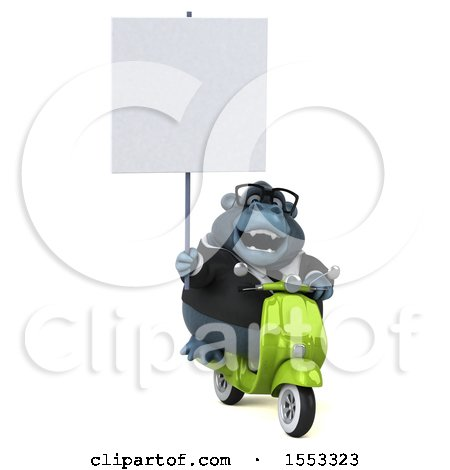 Clipart of a 3d Business Gorilla Mascot Riding a Scooter, on a White Background - Royalty Free Illustration by Julos