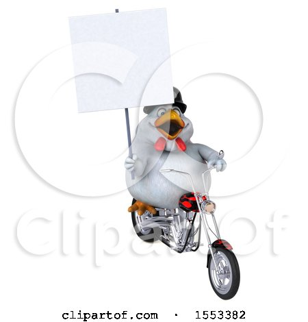 Clipart of a 3d Chubby White Chicken Biker Riding a Chopper Motorcycle, on a White Background - Royalty Free Illustration by Julos
