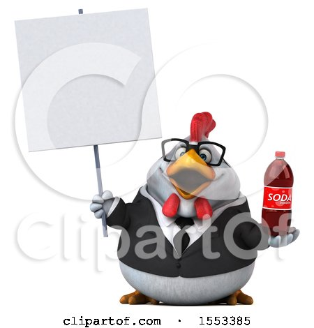 Clipart of a 3d Chubby White Business Chicken Holding a Soda, on a White Background - Royalty Free Illustration by Julos