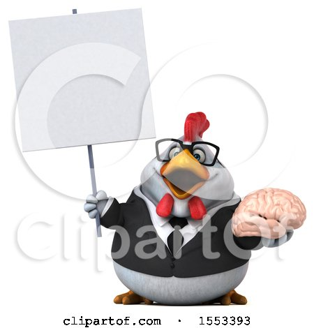 Clipart of a 3d Chubby White Business Chicken Holding a Brain, on a White Background - Royalty Free Illustration by Julos