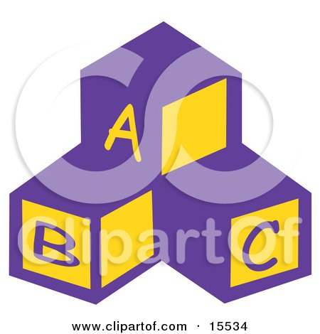Three Blocks In A Nursery Room With The Letters A, B And C Clipart Illustration by Andy Nortnik