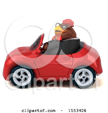 Clipart of a 3d Chubby Brown Business Chicken Driving a Convertible, on a White Background - Royalty Free Illustration by Julos
