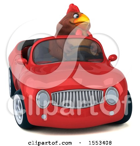 Clipart of a 3d Chubby Brown Chicken Driving a Convertible, on a White Background - Royalty Free Illustration by Julos