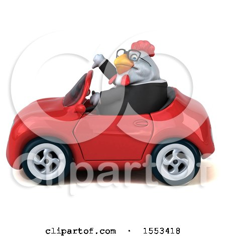 Clipart of a 3d Chubby White Business Chicken Driving a Convertible, on a White Background - Royalty Free Illustration by Julos