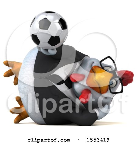 Clipart of a 3d Chubby White Business Chicken Holding a Soccer Ball, on a White Background - Royalty Free Illustration by Julos