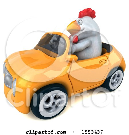 Clipart of a 3d Chubby White Chicken Driving a Convertible, on a White Background - Royalty Free Illustration by Julos