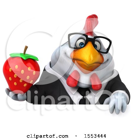 Clipart of a 3d Chubby White Business Chicken Holding a Strawberry, on a White Background - Royalty Free Illustration by Julos