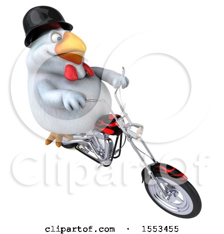 Clipart of a 3d Chubby White Chicken Riding a Chopper Motorcycle, on a White Background - Royalty Free Illustration by Julos