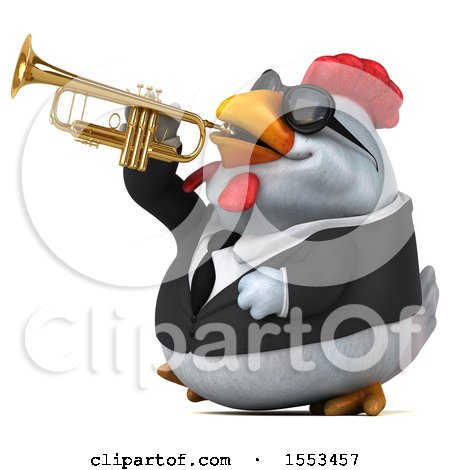 Clipart of a 3d Chubby White Business Chicken Playing a Trumpet, on a White Background - Royalty Free Illustration by Julos