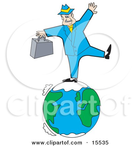 Caucasian Businessman Carrying a Briefcase and Standing on One Leg While Trying to Maintain Balance While Standing on the Earth Clipart Illustration by Andy Nortnik