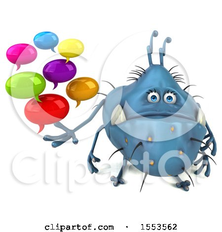 Clipart of a 3d Blue Germ Monster Holding Messages, on a White Background - Royalty Free Illustration by Julos