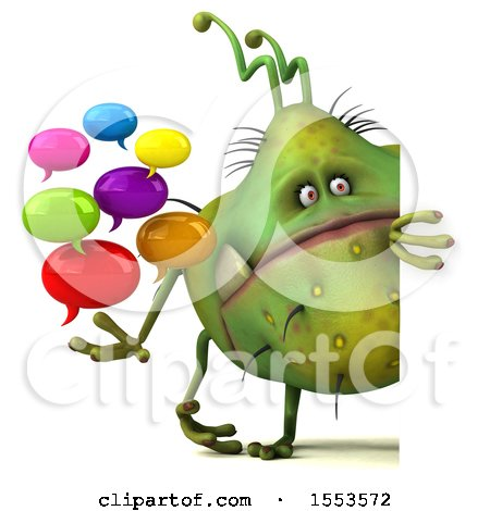 Clipart of a 3d Green Germ Monster Holding Messages, on a White Background - Royalty Free Illustration by Julos