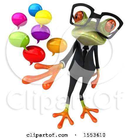 Clipart of a 3d Green Business Frog Holding Messages, on a White Background - Royalty Free Illustration by Julos