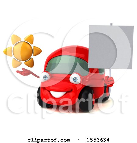 Clipart of a 3d Red Car Holding a Sun, on a White Background - Royalty Free Illustration by Julos