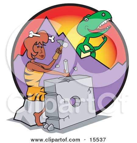Handy Cavewoman Chiseling a Rock While a Big T Rex Eyes Her From Behind a Mountain Clipart Illustration by Andy Nortnik