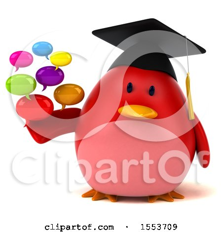 Clipart of a 3d Chubby Red Bird Graduate Holding Messages, on a White Background - Royalty Free Illustration by Julos