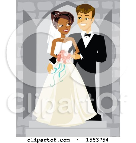 Clipart of a Happy African American Bride and Caucasian Groom - Royalty Free Vector Illustration by Amanda Kate