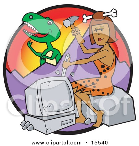 Handy Cavewoman With A Bone In Her Hair, Chiseling A Rock While A Big T Rex Eyes Her From Behind A Mountain Clipart Illustration by Andy Nortnik