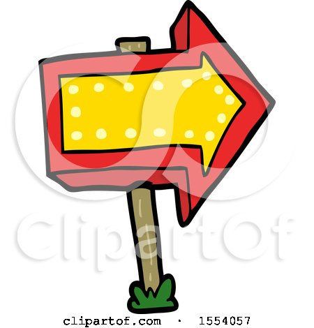 Cartoon Pointing Arrow Sign by lineartestpilot