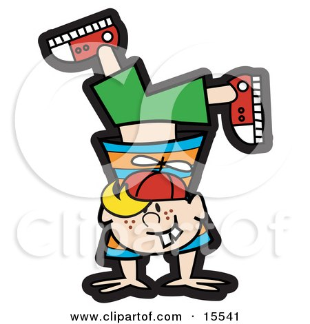 Happy Blond Haired Freckled And Buck Toothed Boy Doing A Handstand While Playing Clipart Illustration